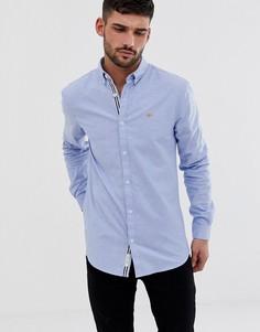Светло-синяя облегающая оксфордская рубашка River Island-Синий