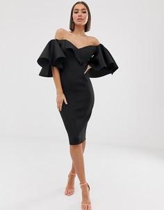 Платье миди с открытыми плечами ASOS DESIGN-Черный