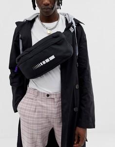 Черная сумка-кошелек на пояс с ремешком через плечо ASOS DESIGN-Черный