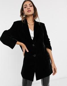 Бархатный oversize-пиджак в винтажном стиле ASOS DESIGN-Черный