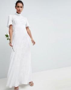 Свадебное платье макси из мягкой жаккардовой ткани с расклешенными рукавами ASOS EDITION-Белый