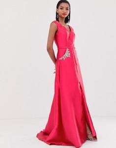 Декорированное платье макси Jovani-Розовый