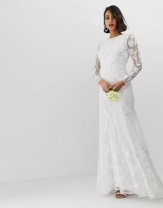 Свадебное платье с аппликацией ASOS EDITION-Белый
