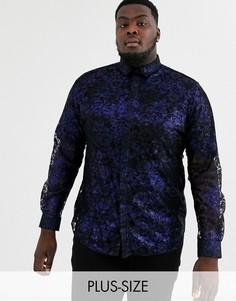 Синяя кружевная рубашка с принтом металлик Twisted Tailor Plus-Синий