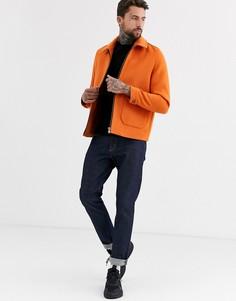 Оранжевая куртка Харрингтон с добавлением шерсти ASOS DESIGN-Оранжевый