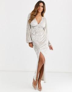 Бархатное платье макси на пуговицах с длинными рукавами ASOS DESIGN-Серебряный