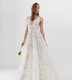 Эксклюзивное свадебное платье с декоративной отделкой Bronx & Banco-Белый