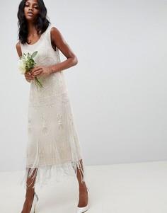 Свадебное платье миди с глубоким вырезом на спине и отделкой бахромой ASOS EDITION-Бежевый