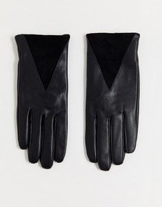 Кожаные перчатки с треугольными замшевыми вставками Boardmans-Черный