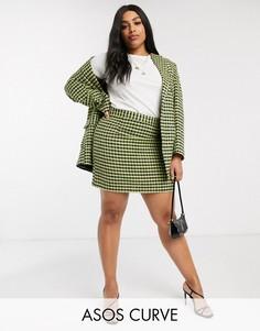 Неоновая юбка из букле ASOS DESIGN Curve-Мульти
