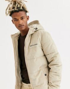 Светло-бежевая вельветовая дутая куртка с капюшоном Sixth June-Светло-бежевый