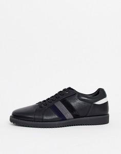 Черные кожаные кроссовки с полосками по бокам Dune-Черный