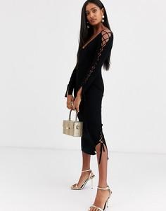 Платье миди в рубчик со шнуровкой на рукавах и V-образным вырезом ASOS DESIGN-Черный