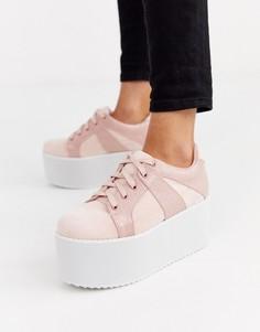 Розовые кроссовки на шнуровке и массивной платформе Lost Ink-Розовый