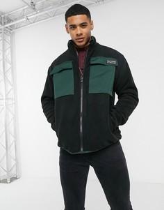 Черная флисовая куртка с нейлоновыми карманами New Look-Черный