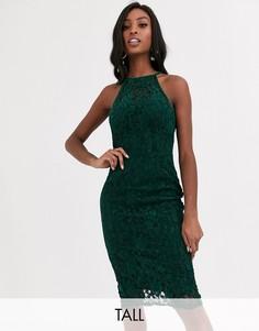 Зеленое бархатное платье миди с кружевом Paper Dolls Tall-Зеленый