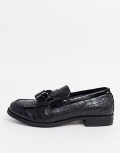 Черные лоферы для широкой стопы с крокодиловым рисунком Truffle Collection-Черный