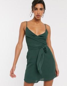 Платье мини с запахом и завязкой на талии ASOS DESIGN-Зеленый