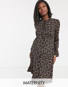 Платье с цветочным принтом New Look Maternity-Черный