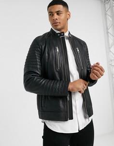 Черная кожаная байкерская куртка BOSS-Черный