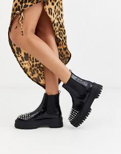 Черные ботинки челси с заклепками на массивной подошве Bershka-Черный