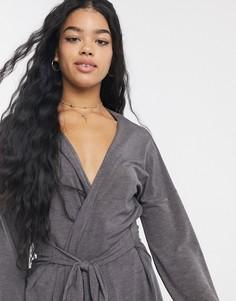 Короткий трикотажный халат Unique 21-Серый Unique21