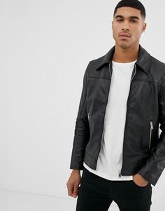 Приталенная кожаная куртка Bolongaro Trevor-Черный
