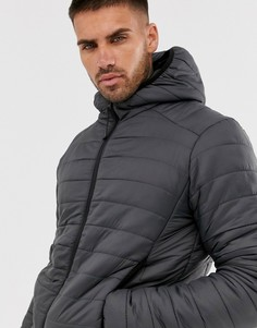 Серая дутая куртка с капюшоном Brave Soul-Серый