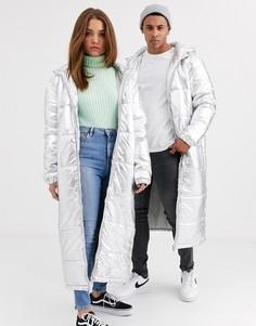 Удлиненная дутая куртка унисекс с эффектом металлик Another Influence-Серебряный