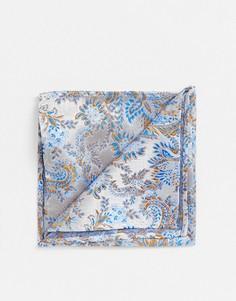 Синий платок для пиджака с цветочным рисунком Twisted Tailor-Белый