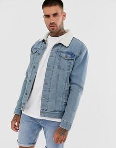 Синяя джинсовая куртка на подкладке из искусственного меха Brave Soul-Синий