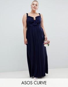 Платье макси с сетчатым верхним слоем и сборками ASOS DESIGN Curve-Темно-синий