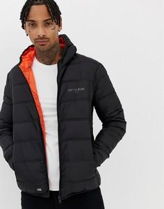 Черная дутая куртка с капюшоном Sixth June-Черный