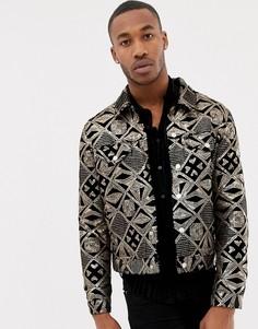 Черная велюровая куртка в стиле вестерн с золотистыми пайетками ASOS DESIGN-Черный