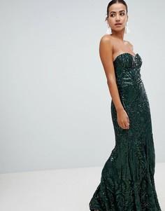 Платье макси с открытыми плечами и отделкой пайетками Club L-Зеленый