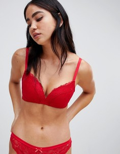 Кружевной бюстгальтер пуш-ап с формованными чашечками без косточек ASOS DESIGN-Красный