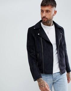 Черная байкерская куртка из искусственной замши ASOS DESIGN-Черный