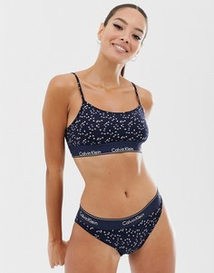 Подарочный набор из бралетта в стиле ретро и трусов бикини со звездами Calvin Klein-Темно-синий