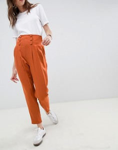 Зауженные брюки с завышенной талией ASOS DESIGN tailored-Красный