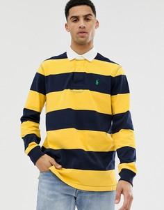 Желто-синее полосатое поло в стиле регби с логотипом Polo Ralph Lauren-Желтый
