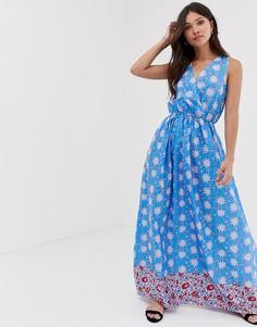 Платье макси с запахом спереди и принтом Parisian-Синий