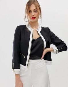 Куртка с контрастной кружевной отделкой Ted Baker-Черный