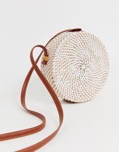 Круглая сумка из ротанга ASOS DESIGN-Белый