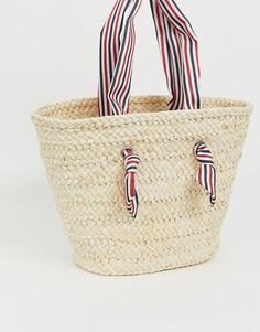 Соломенная пляжная сумка с полосатыми ручками South Beach-Бежевый