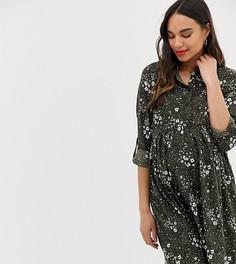 Зеленое платье-рубашка с принтом New Look Maternity-Зеленый