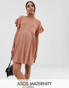 Свободное платье металлик с оборками на рукавах ASOS DESIGN Maternity-Розовый