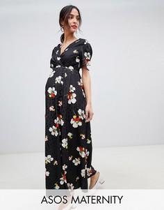 Жаккардовое чайное платье на пуговицах с цветочным узором ASOS DESIGN Maternity-Мульти