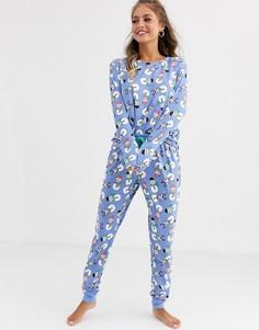 Пижамный комплект Chelsea Peers Cat Snowman-Синий