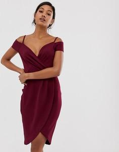 Бордовое платье миди с открытыми плечами и запахом AX Paris-Красный