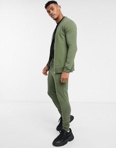 Обтягивающий спортивный костюм хаки с бомбером ASOS DESIGN-Зеленый
